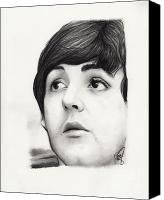 Paul Drawings Canvas Prints - Paul McCartney Canvas Print by Rosalinda Markle