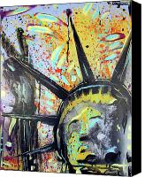 Landmarks Mixed Media Canvas Prints - Peace and Liberty Canvas Print by Robert Wolverton Jr