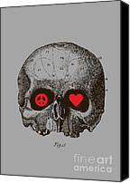 Skull Canvas Prints - Peace and Love Canvas Print by Budi Satria Kwan
