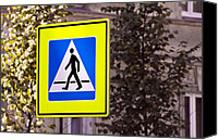 Crosswalk Canvas Prints - Pedestrian crossing sign. Canvas Print by Fernando Barozza