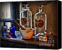 Glass Bottles Canvas Prints - Pharmacist - Mortar and Pestle Canvas Print by Paul Ward