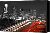 Philadelphia Skyline Canvas Prints - Philadelphia Skyline at Night Black and White BW  Canvas Print by Jon Holiday