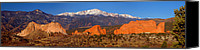 Snow Capped Canvas Prints - Pikes Peak and Garden of the Gods Canvas Print by Jon Holiday