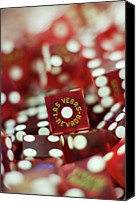 Gambling Canvas Prints - Pile Of Dice At A Casino, Las Vegas, Nevada Canvas Print by Christian Thomas