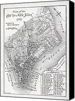 Manhattan Map Canvas Prints - Plan of the City of New York Canvas Print by American School