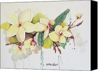Drips Mixed Media Canvas Prints - Plumerias Canvas Print by Lauren Penha