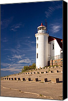 Lighthouses Canvas Prints - Point Betsie Lighthouse Michigan Canvas Print by Adam Romanowicz