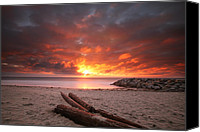 Long Canvas Prints - Ponto Jetty Sunset 3 Canvas Print by Larry Marshall