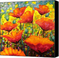 Floral Giclee Canvas Prints - Poppy Corner Canvas Print by John  Nolan