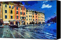 Sunny Canvas Prints - Portofino in Italy Canvas Print by George Atsametakis