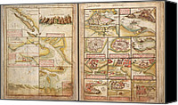 Maps Canvas Prints - Portuguese Maps Showing Views Of  Port Canvas Print by Everett