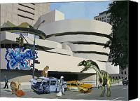 Science Painting Canvas Prints - Post-Nuclear Guggenheim Visit Canvas Print by Scott Listfield
