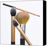 Make-up Canvas Prints - Powder and make-up brushes Canvas Print by Bernard Jaubert