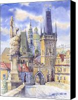 Watercolour Canvas Prints - Prague Charles Bridge Canvas Print by Yuriy  Shevchuk