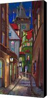 Pastel Canvas Prints - Prague Old Street  Canvas Print by Yuriy  Shevchuk