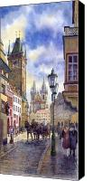 Watercolour Canvas Prints - Prague Old Town Square 01 Canvas Print by Yuriy  Shevchuk
