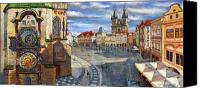 Old Drawings Canvas Prints - Prague Old Town Squere Canvas Print by Yuriy  Shevchuk