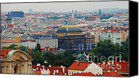 Prague Digital Art Canvas Prints - Prague Skyline Canvas Print by Pravine Chester