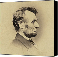 Abraham Lincoln Photo Canvas Prints - President Abraham Lincoln 1809-1865 Canvas Print by Everett