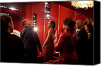 Michelle Obama Photo Canvas Prints - President And Michelle Obama Attend Canvas Print by Everett