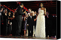 First Ladies Canvas Prints - President And Michelle Obama Dance Canvas Print by Everett
