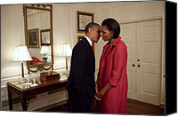 First Ladies Canvas Prints - President And Michelle Obama Wait Canvas Print by Everett