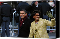 First Ladies Canvas Prints - President And Michelle Obama Wave Canvas Print by Everett