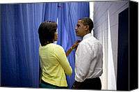 Obama Photo Canvas Prints - President Barack Obama And First Lady Canvas Print by Everett
