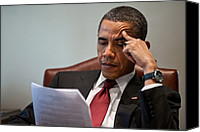 Barack Canvas Prints - President Barack Obama Reads A Document Canvas Print by Everett