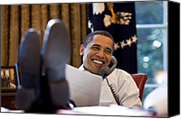 Barack Canvas Prints - President Barack Obama Smiles While Canvas Print by Everett