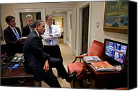 Barack Canvas Prints - President Barack Obama Watches Canvas Print by Everett