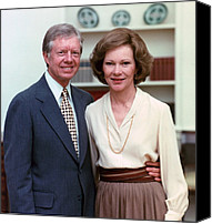 First Ladies Canvas Prints - President Jimmy Carter And Rosalynn Canvas Print by Everett