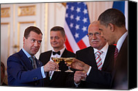 Bswh052011 Canvas Prints - President Obama And Russian President Canvas Print by Everett