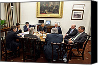 Bswh052011 Canvas Prints - President Obama And Vp Joe Biden Hold Canvas Print by Everett