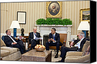 The White House Canvas Prints - President Obama And Vp Joe Biden Meet Canvas Print by Everett