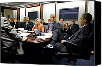 Bswh052011 Canvas Prints - President Obama Holds A Meeting Canvas Print by Everett