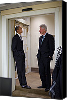 Obama Photo Canvas Prints - President Obama Talks With Former Canvas Print by Everett
