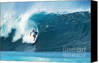Surf Art Canvas Prints - Pro Surfer Kelly Slater Surfing in the Pipeline Masters Contest Canvas Print by Paul Topp