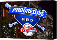 Cleveland Stadium Canvas Prints - Progressive Field Canvas Print by Robert Harmon