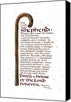 Bible Canvas Prints - Psalm 23 Canvas Print by Judy Dodds