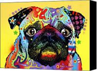 Dog Glass Canvas Prints - Pug Canvas Print by Dean Russo
