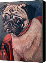 Dog Painting Canvas Prints - Pugsy Canvas Print by Enzie Shahmiri