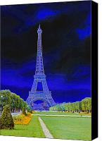 Impressionism Photo Canvas Prints - Purple Eiffel Canvas Print by Chuck Staley