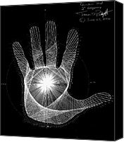 Drawing Drawings Canvas Prints - Quantum Hand through my eyes Canvas Print by Jason Padgett