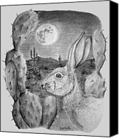 Rabbit Pastels Canvas Prints - Rabbit On The Moon Canvas Print by Jerry Padilla