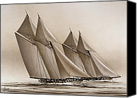 Yachts Painting Canvas Prints - Racing Yachts Canvas Print by James Williamson