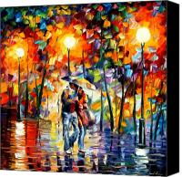 Afremov Canvas Prints - Rainy Evening Canvas Print by Leonid Afremov
