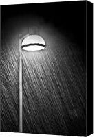 Lamppost Canvas Prints - Rainy Night Canvas Print by Gert Lavsen