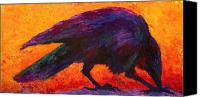 Ravens Canvas Prints - Raven Canvas Print by Marion Rose