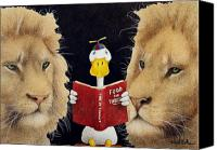 Reading Painting Canvas Prints - Reading between the lions... Canvas Print by Will Bullas
